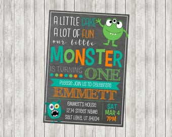 Digital Monster First Birthday Invitation