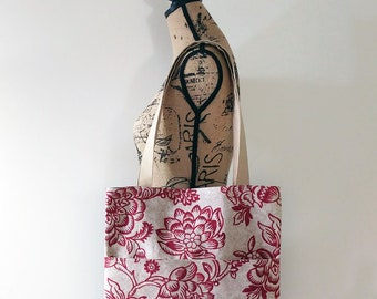 Red Tote Bag, Reversible Bag, Market Tote