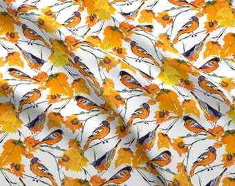 Orange Fall Leaves Bird Fabric - Birds In Autumn By Mjmstudio - Harvest Cotton Fabric By The Yard With Spoonflower