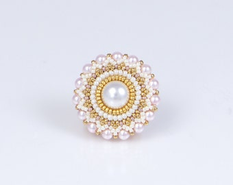 Wedding brooch, pink, white, flower motif, pearl brooch for dresses, romantic jewelry, birthday, easter gift for her, 150-338