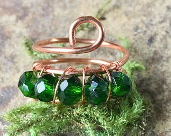 Emerald Glass Copper ring, copper ring, wire wrapped copper ring,statement ring, Glass ring,Women's size 8 ring