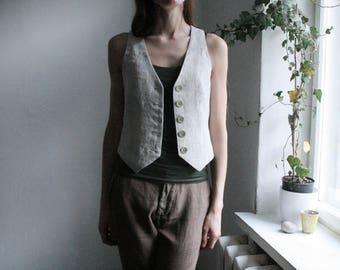 Rustic linen waistcot in size S