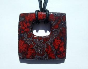 Red ceramic square pendant