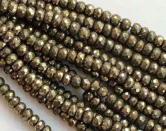 Pyrite Beads, Natural Pyrite Faceted Rondelles, Pyrite Necklace, 8mm Beads, 7 Inch Strand, Pyrite Wholesale