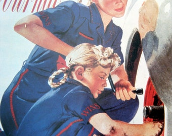 Mother and Daughter Stateside Vintage Wartime Poster Ladies Home Journal 1940s