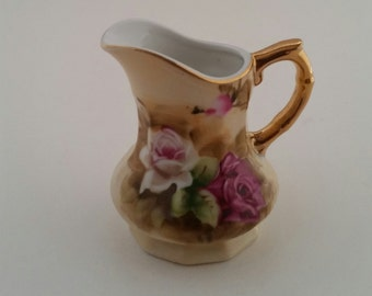 Lefton China/Heritage Brown Floral Mini Creamer by Lefton China/Vintage Lefton/Heritage Brown/Mini Creamer/Floral Creamer/Hand Painted