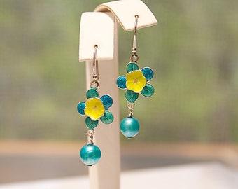 Buttercup Flower Earrings - Lightweight Earrings - Teal Earrings - Yellow Earrings - Gardener Gifts - Christmas Gift Ideas for Women