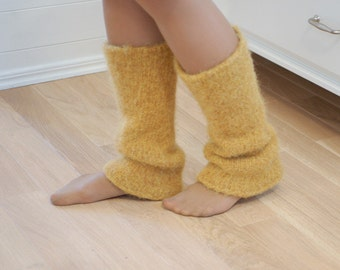 Boiled wool leg warmers Mustard yellow - Chunky knitted felted leg warmers natural wool