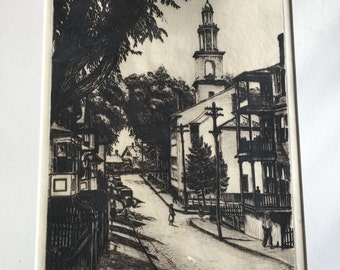 Vintage Max Kuehne Etching First Universalist Church COA Listed Artist