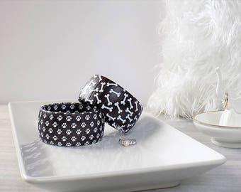 Paw Print Bracelet - Dog Bone Bracelet - Dog Lover Jewelry - Puppy Lover Gift - Paw Print Bangle - I Heart My Dog - Black and White Bracelet