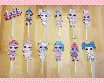 Inspired L.O.L. Surprise Doll Cupcake Cake Toppers Birthday Party - Set of 12