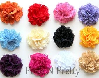 "2"" Burlap Jute petite Flower - Set of 5 - CHOOSE COLORS - DIY supplies fabric flowers"