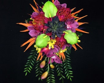 Colorful Tropical Cascading Bride Bouquet with Birds of Paradise, Calla Lilies, Orchids, Plumeria, and Succulents