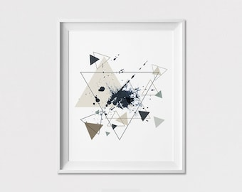 Geometric art print, poster, wall art, Triangle poster, Minimalist, Abstract print, housewarming gift, Home Decor, Wall Decor, ArtFilesVicky