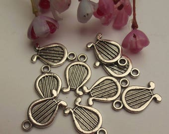 set of 6 moving silver metal charms