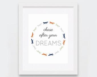 Typographic Print, Inspirational Art Print, Baby Room Fox Decor, Modern Nursery Wall Art, Printable Nursery Art, Orange Navy Sage Grey Art