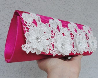 Bridal Fuchsia Satin Pleated Evening Clutch Adorned With Lace Applique And Rhinestone