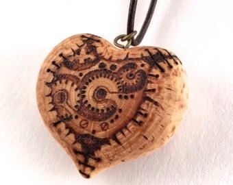 Steampunk Heart Pendant - wooden heart necklace, wood heart pendant, pyrography pendant, wood burned necklace, heart necklace, wood jewelry