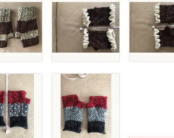 Pick your favorite pattern/color hand knit fingerless mittens