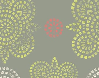 SALE Ty Pennington Impressions 2011 quilt or craft Fabric by Free Spirit, Taj in Green/Gray-1 Yard or by the yard
