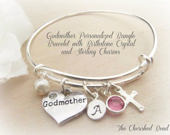 Baptism Godmother Personalized Stainless Steel Bangle Bracelet - Birthstone Crystal, Sterling Silver Charms
