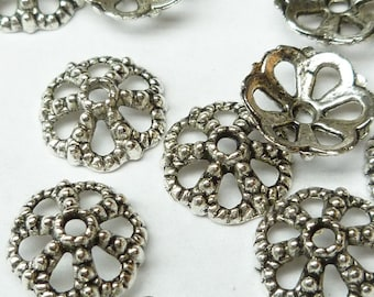 12mm Antiqued Silver Raised Dots Flower Bead Cap (10) - SF8