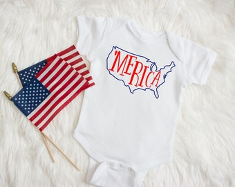 4th of July Shirt for Boy - Fourth of July Shirts for Boys - 4th of July Baby Boy - Merica - Fourth of July Baby Boy - Red White & Blue