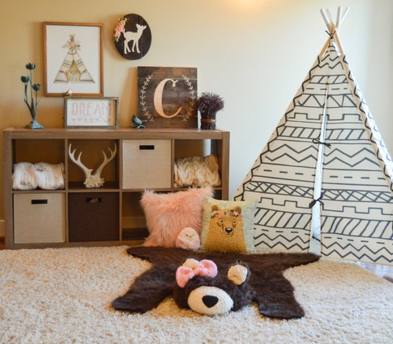 Bear Rug / Faux Bear Rug / Woodland Nursery / Baby Room Decor
