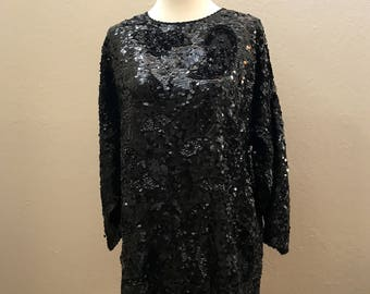 Vintage 1980s Black Sequin Blouse / Top / Large