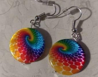 Tie dye swirl earrings