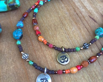 Colorful OM Charm Bohemian Necklace, Multi Color, Eclectic, Turquoise, OM Charm Necklace, Gypsy, Mixed Metal, Rustic, Warm Colors