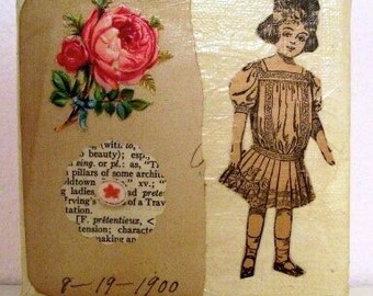 Vintage Paper Doll Original Mixed Media Collage