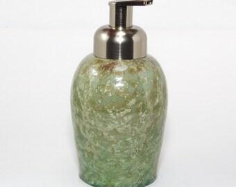 """Crystalline Glaze:  """"Avril Green""""  Foaming Soap dispenser"""