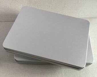 Rectangular Metal Tin, Blank Hinged Tin, Color Silver 450ml Tin box, 6 tin Boxes, Tin Box For Craft Supply