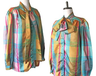 Vintage Rainbow Plaid Bow Blouse — M/L