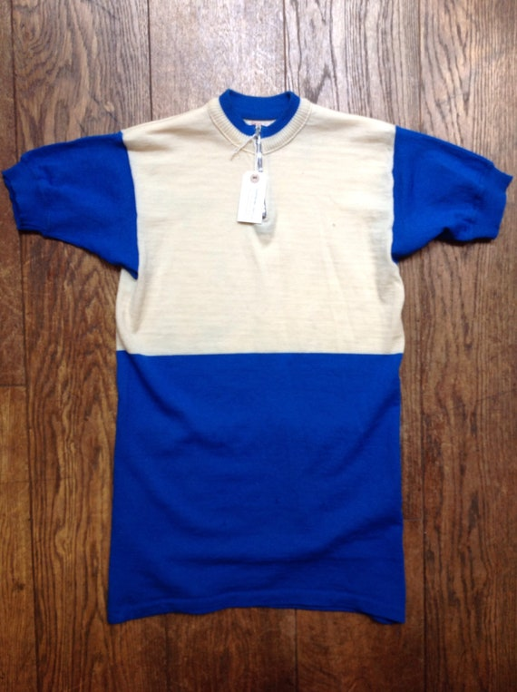 """Vintage 1970s 70s Sergal Italian blue white fine knitted wool cycling top t shirt jersey mod quarter zip 34"""" 36"""" 38"""" chest made in Italy"""