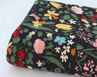 French Terry Knit Fabric Black Floral