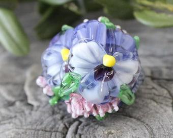 Pansy Lampwork Bead, Handmade Glass Pansy Bead, Lampwork Flower, Lampwork Pansy, Pansy Beads, Pansy, Pansy Flower, Lentil Beads, Floral Bead