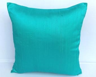 Aqua blue. Dupioni silk pillow cover- decorative aqua blue  throw pillow cover.  Luxury silk  pillow cover. Custom made