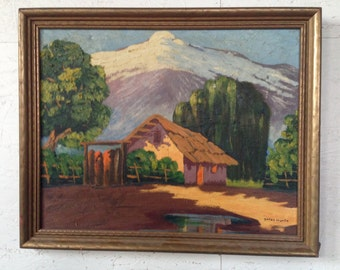 Vintage Original Landscape Painting American Snow Capped Mountains Ca Cottage Winter Landscape Oil Painting signed Marin