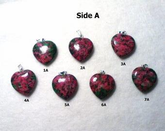 Ruby in Zoisite Heart Pendant, Ruby in Zoisite Heart Necklace, Ruby in Zoisite Necklace, Ruby in Zoisite Pendant, Heart Pendant