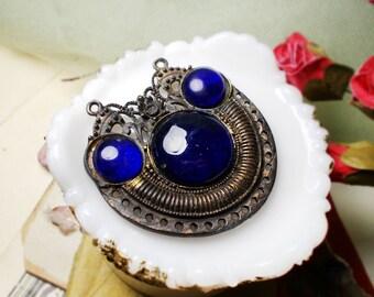 Oxidized Vintage Pendant | 1 Metal & Blue Glass Gem Primitive Pendant | Assemblage Jewelry Supply | 60mm | Antiqued Gold Tone Disc Pendant