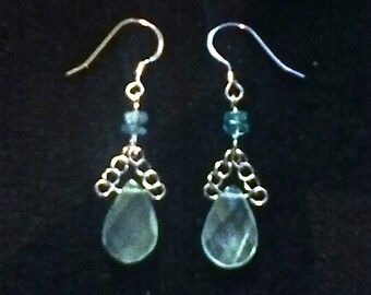 Silver Aquamarine Drop Earrings With Sky -Blue Topaz