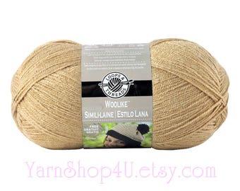 TAN Woolike Loops and Threads Yarn. 85% Acrylic / 15 Nylon. A Super Fine Fingering Weight, Sock yarn is smooth and soft. 3.5oz 678 yd <