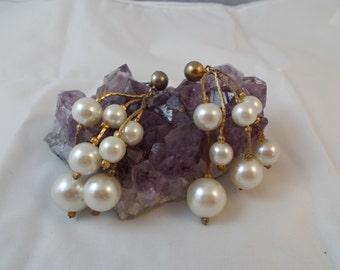 Vintage Faux Pearl Wedding Bridal  Dangle Earrings