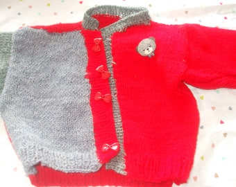 vest or sweater knit two-tone grey and red hands 6 months 9 months 12 months buttons red bows with bear