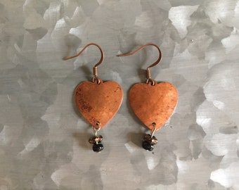 Hammered Copper Heart Shaped earrings with vintage beads