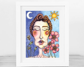 Life's Balance ~ watercolour and ink art print