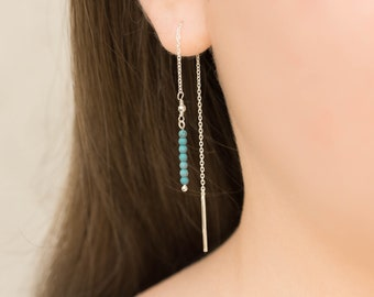 Turquoise Threader Earrings, Sterling Silver Threaders, Sterling Threader Earrings, Turquoise Threader Earrings, Delicate Dangle Earrings