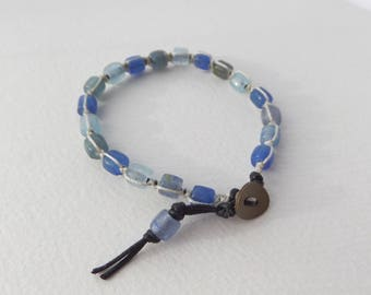 Blues Bracelet, Macrame Bracelet, Black Cord Shamballa Style Bracelet, Glass beaded, Cord Bracelet, Knotted Bracelet, Blue, Denim Blue, Aqua